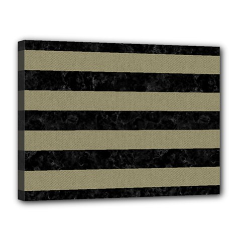 Stripes2black Marble & Khaki Fabric Canvas 16  X 12  by trendistuff
