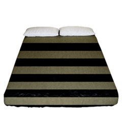 Stripes2black Marble & Khaki Fabric Fitted Sheet (california King Size) by trendistuff