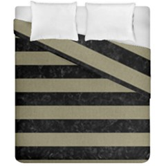 Stripes2black Marble & Khaki Fabric Duvet Cover Double Side (california King Size) by trendistuff