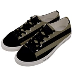 Stripes2black Marble & Khaki Fabric Men s Low Top Canvas Sneakers by trendistuff