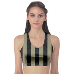 Stripes1 Black Marble & Khaki Fabric Sports Bra