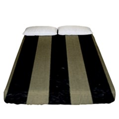 Stripes1 Black Marble & Khaki Fabric Fitted Sheet (king Size) by trendistuff