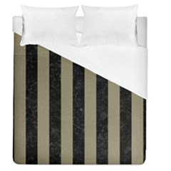 Stripes1 Black Marble & Khaki Fabric Duvet Cover (queen Size) by trendistuff