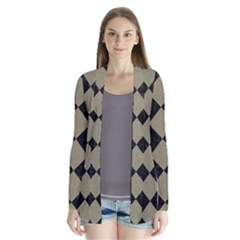 Square2 Black Marble & Khaki Fabric Drape Collar Cardigan by trendistuff