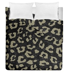 Skin5 Black Marble & Khaki Fabric Duvet Cover Double Side (queen Size) by trendistuff