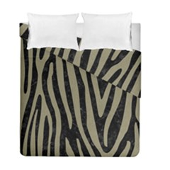 Skin4 Black Marble & Khaki Fabric Duvet Cover Double Side (full/ Double Size) by trendistuff