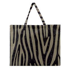 Skin4 Black Marble & Khaki Fabric Zipper Large Tote Bag by trendistuff