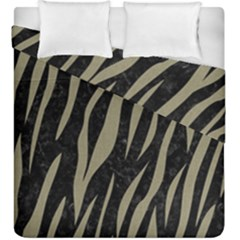 Skin3 Black Marble & Khaki Fabric (r) Duvet Cover Double Side (king Size) by trendistuff