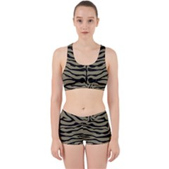 Skin2 Black Marble & Khaki Fabric Work It Out Sports Bra Set