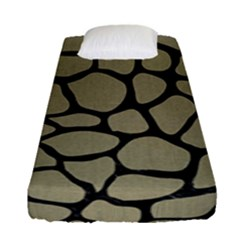 Skin1 Black Marble & Khaki Fabric (r) Fitted Sheet (single Size) by trendistuff
