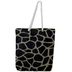 Skin1 Black Marble & Khaki Fabric Full Print Rope Handle Tote (large) by trendistuff