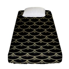 Scales3 Black Marble & Khaki Fabric (r) Fitted Sheet (single Size) by trendistuff