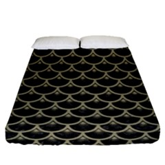 Scales3 Black Marble & Khaki Fabric (r) Fitted Sheet (queen Size) by trendistuff