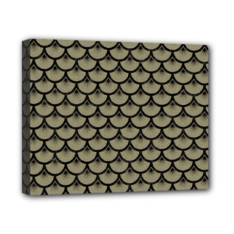 Scales3 Black Marble & Khaki Fabric Canvas 10  X 8  by trendistuff