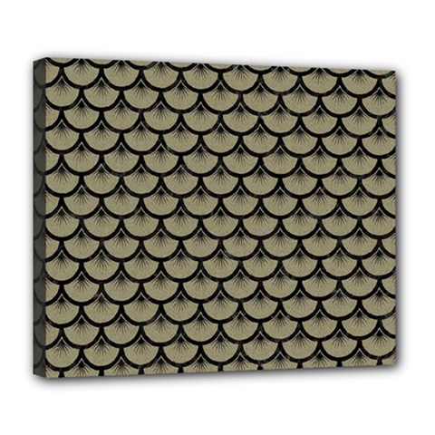 Scales3 Black Marble & Khaki Fabric Deluxe Canvas 24  X 20   by trendistuff