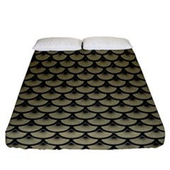 Scales3 Black Marble & Khaki Fabric Fitted Sheet (california King Size) by trendistuff