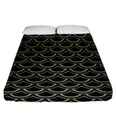 Scales2 Black Marble & Khaki Fabric (r) Fitted Sheet (king Size) by trendistuff
