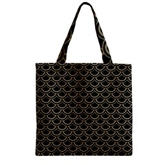 Scales2 Black Marble & Khaki Fabric (r) Zipper Grocery Tote Bag by trendistuff