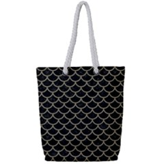 Scales1 Black Marble & Khaki Fabric (r) Full Print Rope Handle Tote (small) by trendistuff