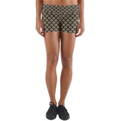 Scales1 Black Marble & Khaki Fabric Yoga Shorts