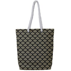 Scales1 Black Marble & Khaki Fabric Full Print Rope Handle Tote (small) by trendistuff