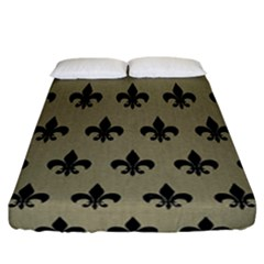 Royal1 Black Marble & Khaki Fabric (r) Fitted Sheet (california King Size) by trendistuff