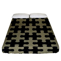Puzzle1 Black Marble & Khaki Fabric Fitted Sheet (queen Size) by trendistuff