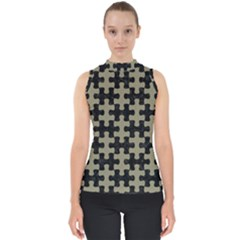 Puzzle1 Black Marble & Khaki Fabric Shell Top