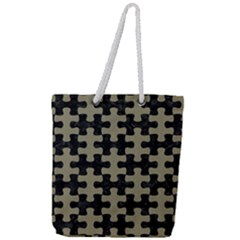 Puzzle1 Black Marble & Khaki Fabric Full Print Rope Handle Tote (large) by trendistuff