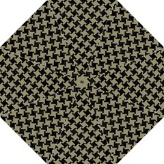 Houndstooth2 Black Marble & Khaki Fabric Hook Handle Umbrellas (medium) by trendistuff