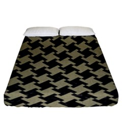 Houndstooth2 Black Marble & Khaki Fabric Fitted Sheet (king Size) by trendistuff