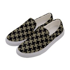 Houndstooth2 Black Marble & Khaki Fabric Women s Canvas Slip Ons by trendistuff