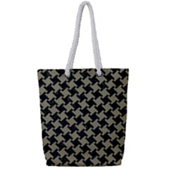 Houndstooth2 Black Marble & Khaki Fabric Full Print Rope Handle Tote (small) by trendistuff