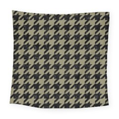Houndstooth1 Black Marble & Khaki Fabric Square Tapestry (large)