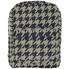 Houndstooth1 Black Marble & Khaki Fabric Full Print Backpack by trendistuff