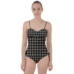 Houndstooth1 Black Marble & Khaki Fabric Sweetheart Tankini Set
