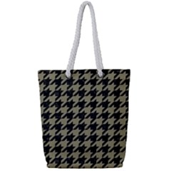 Houndstooth1 Black Marble & Khaki Fabric Full Print Rope Handle Tote (small) by trendistuff