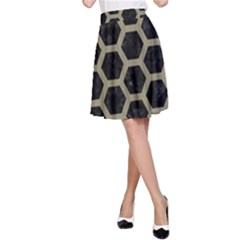 Hexagon2 Black Marble & Khaki Fabric (r) A Line Skirt