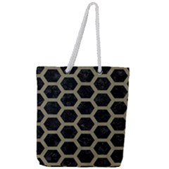 Hexagon2 Black Marble & Khaki Fabric (r) Full Print Rope Handle Tote (large) by trendistuff