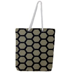 Hexagon2 Black Marble & Khaki Fabric Full Print Rope Handle Tote (large) by trendistuff