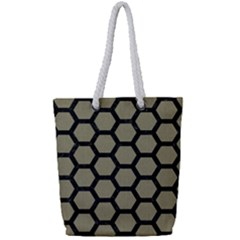 Hexagon2 Black Marble & Khaki Fabric Full Print Rope Handle Tote (small) by trendistuff