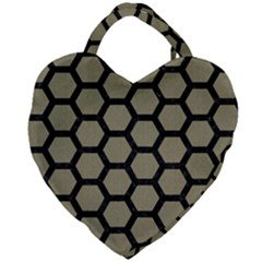 Hexagon2 Black Marble & Khaki Fabric Giant Heart Shaped Tote by trendistuff