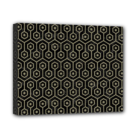 Hexagon1 Black Marble & Khaki Fabric (r) Canvas 10  X 8  by trendistuff