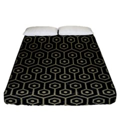 Hexagon1 Black Marble & Khaki Fabric (r) Fitted Sheet (queen Size) by trendistuff