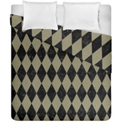 Diamond1 Black Marble & Khaki Fabric Duvet Cover Double Side (california King Size) by trendistuff