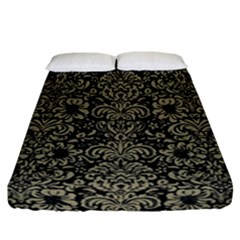 Damask2 Black Marble & Khaki Fabric (r) Fitted Sheet (california King Size) by trendistuff