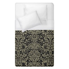 Damask2 Black Marble & Khaki Fabric (r) Duvet Cover (single Size) by trendistuff