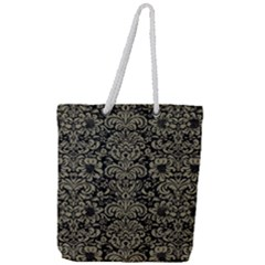 Damask2 Black Marble & Khaki Fabric (r) Full Print Rope Handle Tote (large) by trendistuff