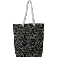 Damask2 Black Marble & Khaki Fabric (r) Full Print Rope Handle Tote (small) by trendistuff