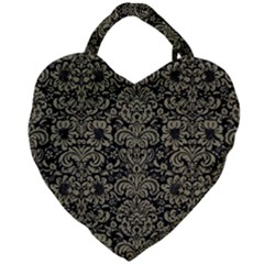 Damask2 Black Marble & Khaki Fabric (r) Giant Heart Shaped Tote by trendistuff